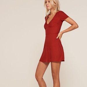 Reformation Durham Red V-Neck Mini Crepe Dress